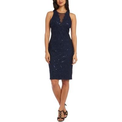 ナイトウェイ Nightway レディース ボディコンドレス ワンピース・ドレス Petite Illusion Lace Bodycon Dress Navy