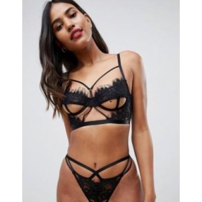 エイソス レディース ブラジャー アンダーウェア ASOS DESIGN Anais cut out underboob corded lace underwire bra Black