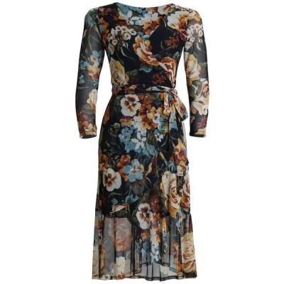 コネクテッド ワンピース トップス レディース Wrap Floral Midi Dress Darkyellow