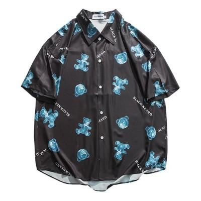 シャツ カップル 男女兼用 ペアルック 半袖シャツ ビーチシャツ 夏服 ブラック 軽量 速乾 海水浴 祭り 夏服 祭り