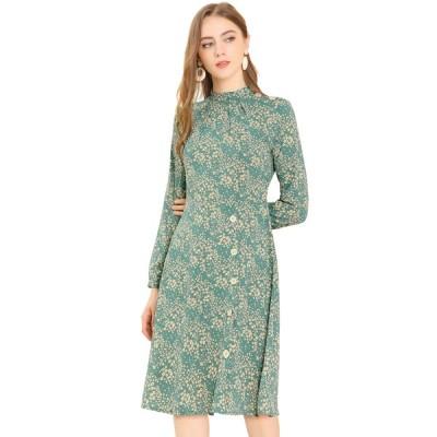 uxcell Allegra K 花柄 ワンピース ドレス 長袖 スタンドカラー 立ち襟 ボタン飾り ひざ丈 秋 レディース グリーン XS