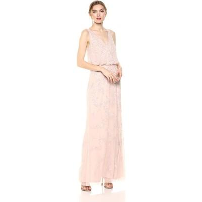 Adrianna Papell Women's Long Beaded Dress, Shell, 12