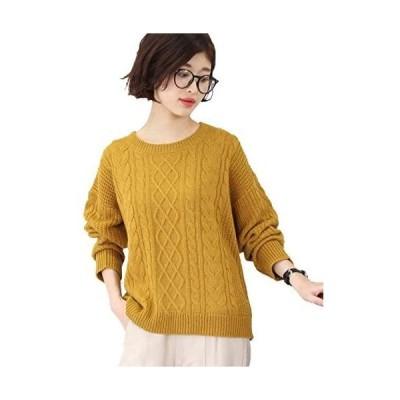 [アドティエ] ケーブル編み ニットセーター ゆったり 長袖 クルーネック 畔編み トップス レディース 19505001 M(マスタード M)
