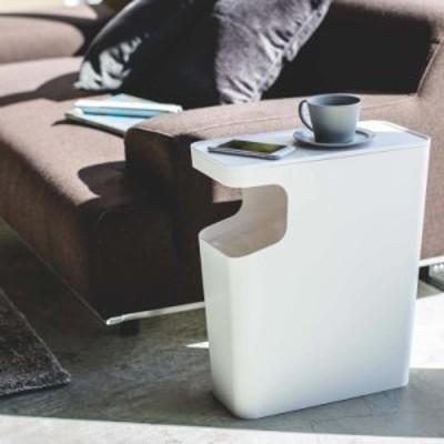 サイドテーブル 収納「ダストボックス&サイドテーブル タワー」スクエア15L ホワイト ブラック  【ゴミ箱 おしゃれ 角型 四角 ごみ箱