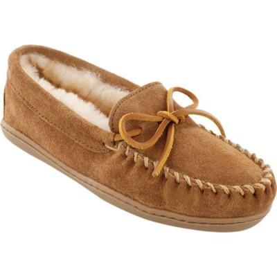 ミネトンカ スニーカー シューズ レディース Sheepskin Hardsole Moccasin Slipper (Women's) Golden Tan Suede/Sheepskin
