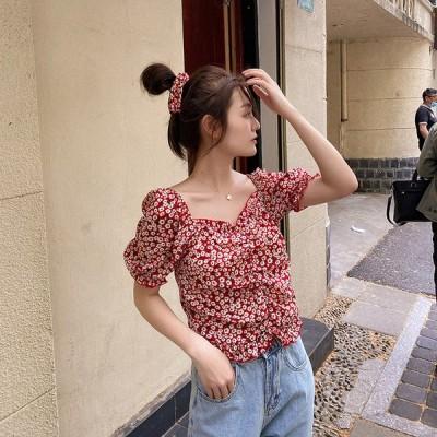 ブラウス シャツ カジュアル レディース 半袖 安い 可愛い 薄手 細身 花柄 夏 肩出し 着痩せ 上品 大人 エレガント 大人可愛い
