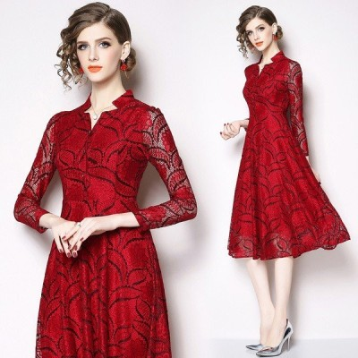 二次会赤ドレス ドレスワンピース レディース きれいめ フォーマル ドレス 結婚式 お呼ばれ 袖あり ミモレ丈 レースドレスM/L/XL/2XL/3XL