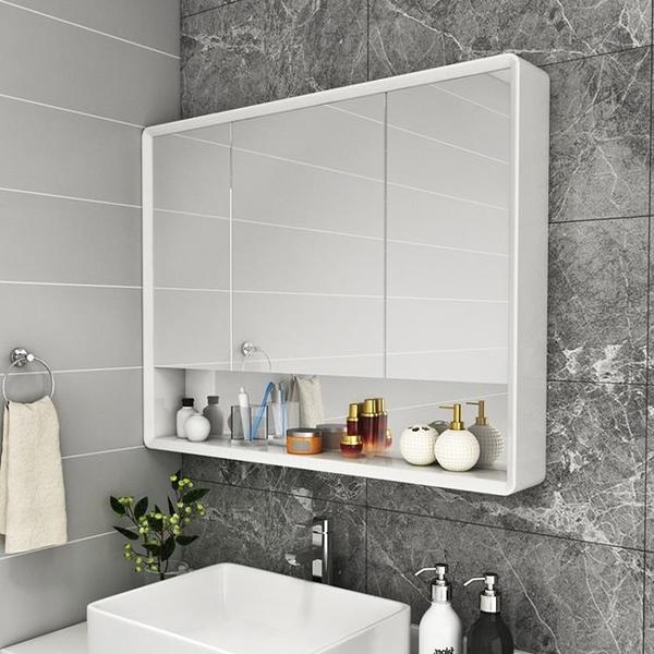 橡木浴室鏡櫃掛牆式衛生間鏡子帶置物架洗漱台收納櫃實木儲物單獨MBS 『潮流世家』