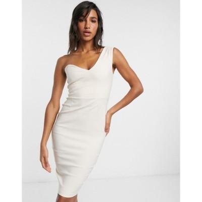 ベスパー ミディドレス レディース Vesper one shoulder midi dress in beige  エイソス ASOS sale