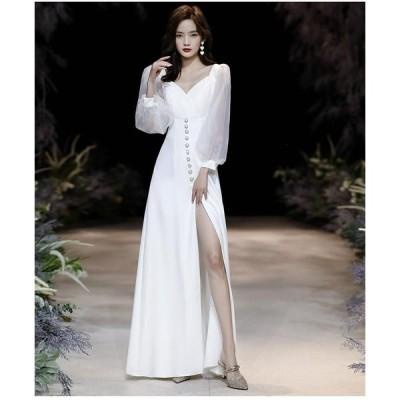 ウエディングドレス ロングドレス パーティードレス フォーマルドレス 結婚式ワンピース 二次会 40代 30代  きれいめ お呼ばれ 披露宴 ナイトドレス セクシー