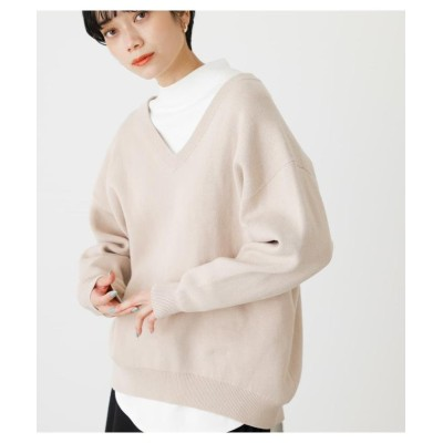(AZUL by moussy/アズールバイマウジー)SWEATTER V/N KNIT TOPS/レディース L/BEG1