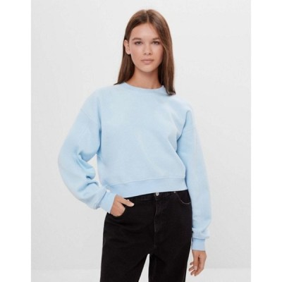 ベルシュカ レディース シャツ トップス Bershka sweatshirt with seams in baby blue