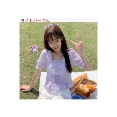 【送料無料】春夏 スクエアネック フレンチ タイプ 包帯 ワイシャツ 女 デザイン 感 小   346770_A62692-2127044