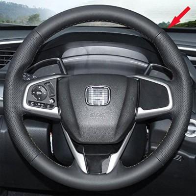 車 ステアリング・ホイール アクセサリー Eiseng DIY Stitch On Wrap Genuine Leather Car Steering Wheel Cover for 2016 2017 Honda Civic / For 2017 Honda