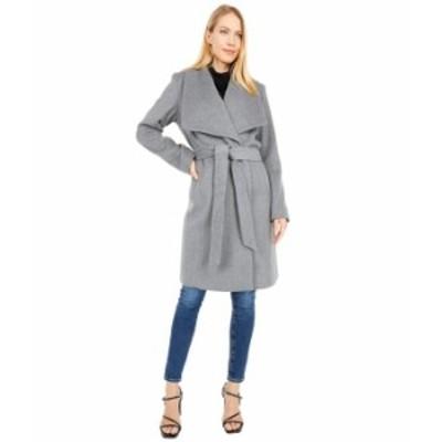 """コールハーン レディース コート アウター 39"""" Slick Wool Wrap Coat with Exaggerated Collar Mid Grey"""