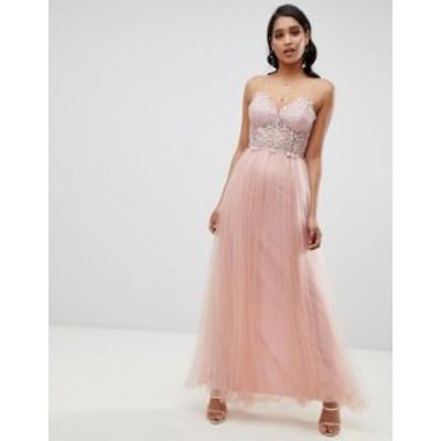 エイソス レディース ワンピース トップス ASOS DESIGN premium lace cami top tulle maxi dress Blush