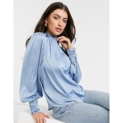 リバーアイランド レディース シャツ トップス River Island ruched satin blouse in blue Blues