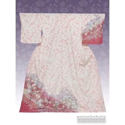 洗える着物 国産袷附下 フリーサイズ ピンク系/辻が花柄 KTK-82
