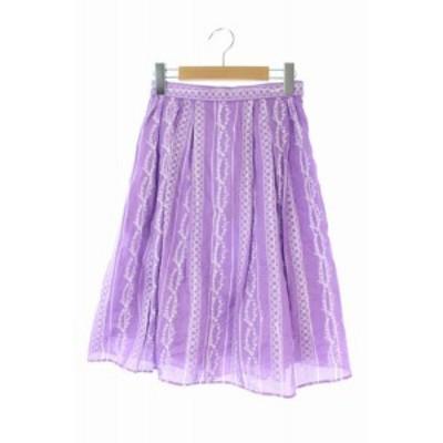 【中古】未使用品 トッカ TOCCA 19SS スカート フレア 膝丈 刺繍 0 紫 /HK ■OS レディース