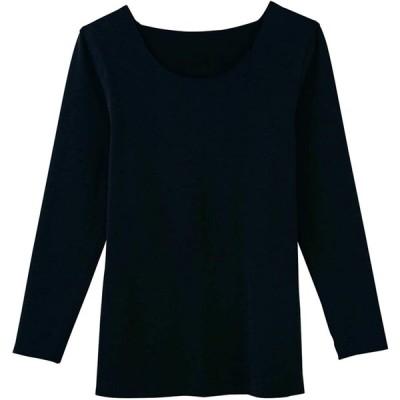 [グンゼ] インナーシャツ キレイラボ 完全無縫製ウォーマー 綿混起毛 8分袖 レディース ブラック(NEWモデル) 日本 M (日本サイズM相当)