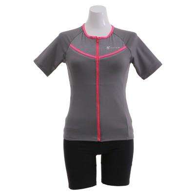 HUITIEMEスイム・競泳水着 袖付きセパレーツ HU20SFM832002GYPNグレー×ピンク