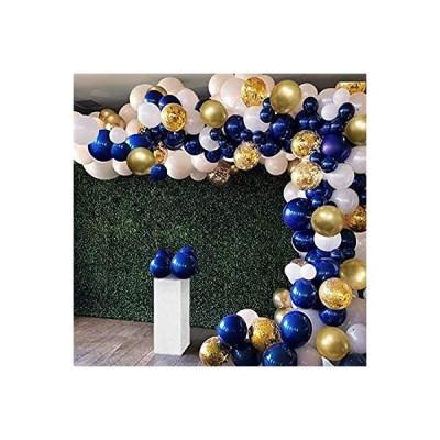 紺青バルーンセット 誕生日飾り付け 128点セット ゴールド紙吹雪風船 ホワイト 風船アクセサリー付け 誕生日 結婚式 お祝い パーティー 装飾