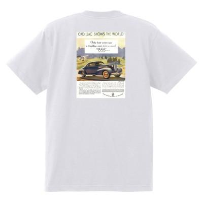アドバタイジング キャデラックTシャツ 123 白 1938 オールディーズ ロックンロール 1950's1960's ロカビリー ローライダー