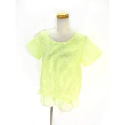 【中古】テチチ Te chichi カットソー Tシャツ 半袖 重ね着風 チェック柄 M イエロー 黄色 レディース 【ベクトル 古着】