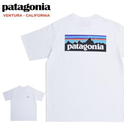 Patagonia パタゴニア Tシャツ 38512 ロゴ メンズ P-6ロゴ レスポンシビリティー 半袖Tシャツ ホワイト (メール便対応)