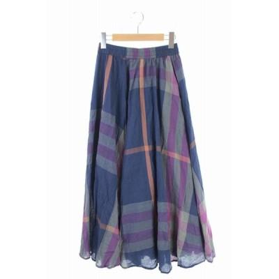 【中古】フリークスストア FREAKS STORE 19SS スカート ロング フレア チェック F 紺 紫 グレー /YS レディース 【ベクトル 古着】