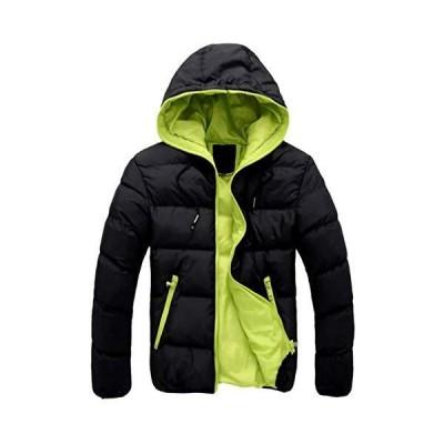 (ナガポ)NAGAPO メンズ ダウン ジャンパー 防寒 秋 冬 ジャケット コート アウター 中綿 シンプル デザイン (2XL ブラック×ライムグ