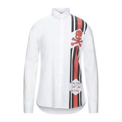 PHILIPP PLEIN 無地シャツ  メンズファッション  トップス  シャツ、カジュアルシャツ  長袖 ホワイト