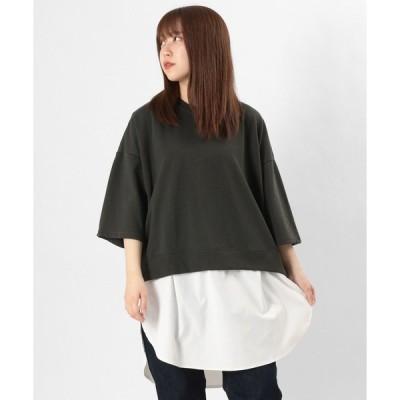 tシャツ Tシャツ カット&シャツ フェイクレイヤードチュニック ビッグシルエット/半袖カットソー