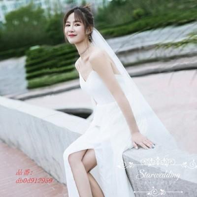 ウェデイングドレス 結婚式 花嫁 ロング丈 ワンピース ブライダル スリット ウエディングドレス ロングドレス 挙式 安い 披露宴 Aラインドレス 韓国風