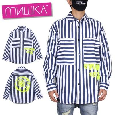 ミシカ MISHKA シャツ ストライプ 長袖シャツ メンズ レディース 大きいサイズ ブランド SHIRT MAW200214