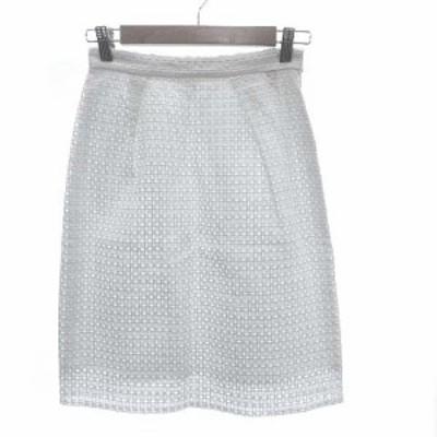 【中古】ミニマム MINIMUM タイトスカート ひざ丈 レース 刺繍 2 白 ホワイト /KB レディース