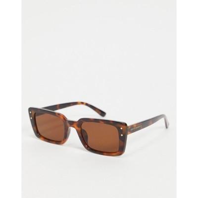 サウスビーチ レディース サングラス&アイウェア アクセサリー South Beach rectangular frame sunglasses in tortoiseshell Brown tort