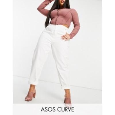エイソス レディース デニムパンツ ボトムス ASOS DESIGN Curve high rise 'original' mom jeans in off white Cream
