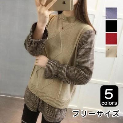 セーター レディース 40代 ニット 春 韓国風 長袖 セーター 30代 トップス フェイクレイヤード ゆったり 大人 可愛い おしゃれ