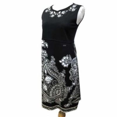 【中古】レオナール LEONARD ワンピース ノースリーブ ロング丈 ドレス ビーズ ラインストーン シルク パーティ M