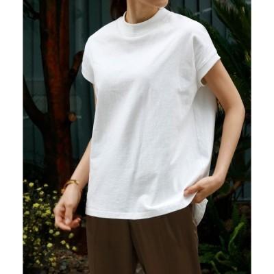 tシャツ Tシャツ 【綿100%使用】モックネック半袖コットンカットソー