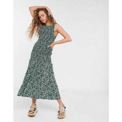 ウィークデイ Weekday レディース ワンピース ミドル丈 ワンピース・ドレス Josephine Paint Print Shirred Midi Dress In Green