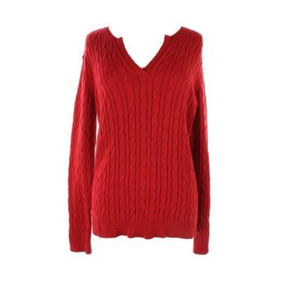 レディース セーター クルクル Charter Club Plus Size New Red Long-Sleeve Cable-Knit Sweater Plus $69.5