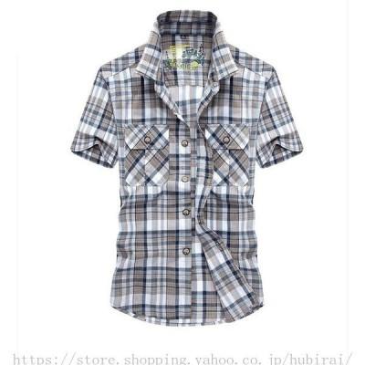 カジュアルシャツ トップス メンズ 半袖 ゆったり チェック柄 綿 開襟 ボタンダウンシャツ プリント 仕事 通勤 定番 ビーチ 旅行 新作