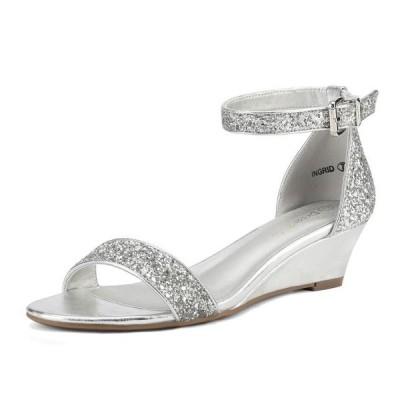 レディース 衣類 トップス Women Low Wedge Heel Sandals Open Toe Ankle Strap Buckle Lady Work Casual Shoes INGRID SILVER/GLITTER Size 5