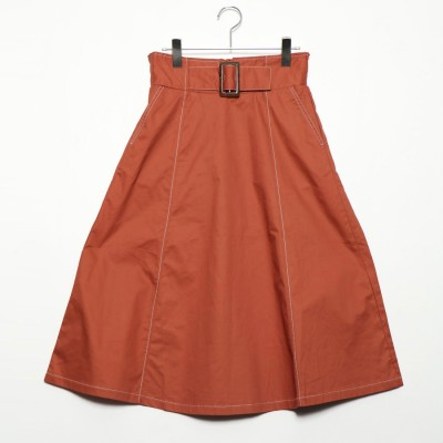 スタイルブロック STYLEBLOCK 綿ツイルステッチフレアスカート (オレンジ)