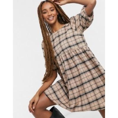 エイソス レディース ワンピース トップス ASOS DESIGN mini short sleeve smock dress in check Brown check
