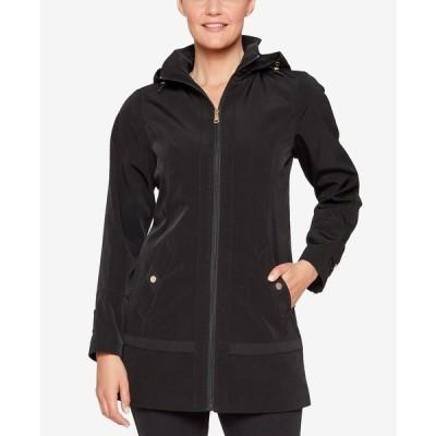 ジョーンズニューヨーク ジャケット&ブルゾン アウター レディース Petite Hooded Raincoat Black