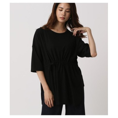 (AZUL by moussy/アズールバイマウジー)WAIST GATHER LOOSE TOPS/レディース BLK