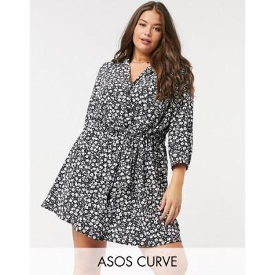 エイソス ドレス 大きいサイズ レディース ASOS DESIGN Curve button through ruched waist mini dress in mono floral エイソス ASOS